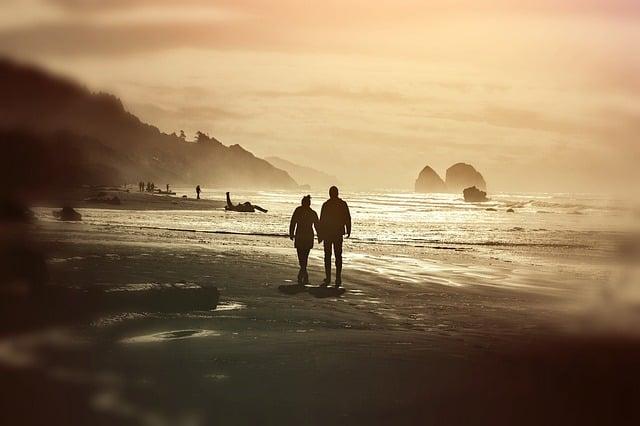 evening walk on the beach