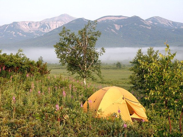 camping in tent