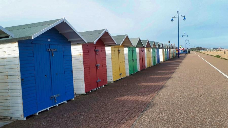 colourful beach huts, Eastbourne